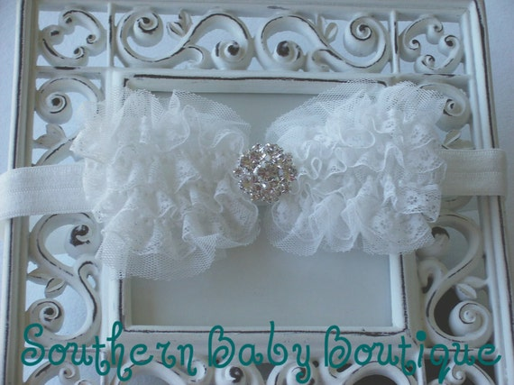 NEW ITEM----Boutique Baby Girl Headband with Rhinestone Lace Bow-------Off WHITE-------Victorian Couture