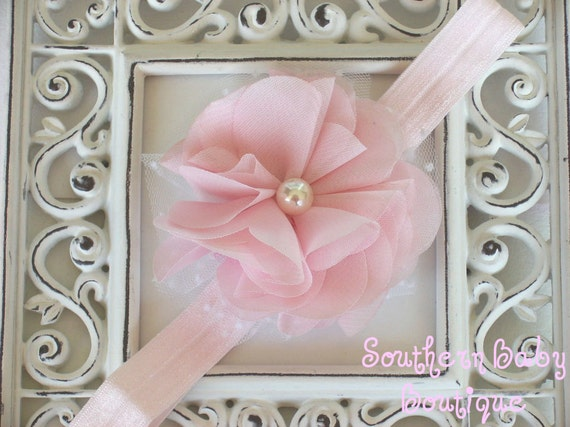 NEW ITEM----Boutique Baby Girl Toddler Chiffon Puff Flower Headband-----Baby Pink-----Photo Prop