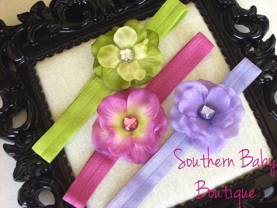 INVENTORY BLOWOUT SALE----Boutique Baby Girl Toddler Flower Headband Set-----Garden Trio-----Photo Prop