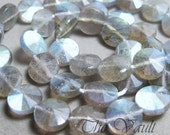 4 Labradorite 8.5mm coins, etched and polished alternating pie slice faceted