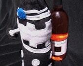 Robot Wine Bottle Bag / Koozie / drawstring bag/ inspired by Dalek Doctor Who/ custom made for you