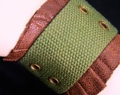 RESERVED for FrysGIRL  The Zoe Cuff- Military Punk/ Steampunk Bracelet/ tankgirl style in army green & brown faux leather-Upycled