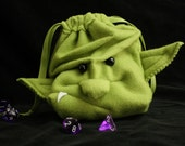 Dice Bag ORC Goblin drawstring pouch/ wristlet purse -Ogre Monster face plush DnD Magic Cards by MyFunkyCamelot GrimLok