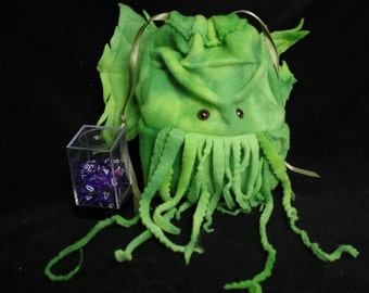 large Cthulhu drawstring dice bag- Wristlet Purse- for Lovecraft fans- Dungeons and Dragons dice or Warhammer miniatures/ My Funky Camelot