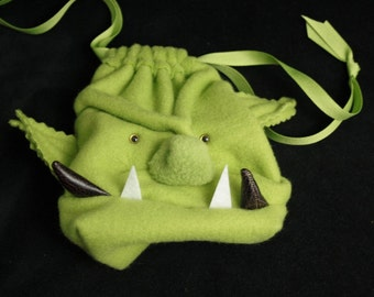TUSSK the ORC Dice Bag / Wristlet Purse / Gadget Case Drawstring Pouch for DnD Magic cards Warhammer Nerds by My Funky Camelot