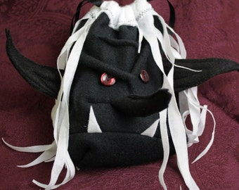 DICE BAG DROW dark elf drawstring pouch for Dungeons and Dragons DnD, Magic the gathering - pathfinder Goth wristlet purse. My Funky Camelot