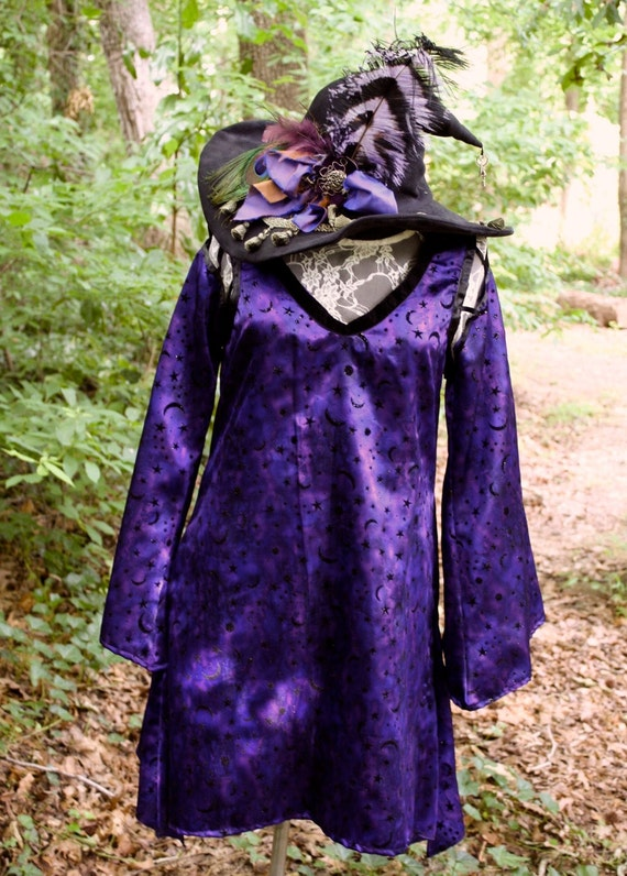SALE Plum Purple Magical Sparkly Moon Bellatrix Witch Tunic dress OOAK was 55