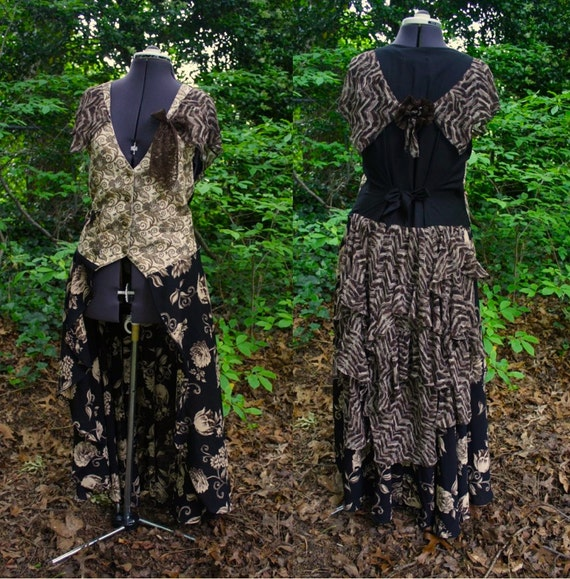 Steampunk bustle Vest Dress -upcycled chocolate brown, cream and black Vest with Skirt and Bustle with faux watch fob and lace rosettes