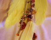 Yellow Feathered and Embellished Purse Charm