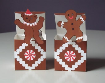 Teddy Bear and Gingerbread Man, Jack in the Boxes Pop Up Printable file, Craft, Toys