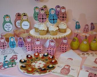 Matryoshka Party Kit Printable Files, Russian Dolls, Babushka Dolls, Nesting Dolls
