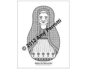 Afghan Girl Matryoshka Coloring sheet PDF