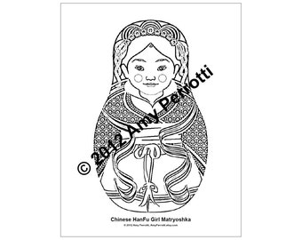 Chinese HanFu  Girl Matryoshka Coloring sheet PDF
