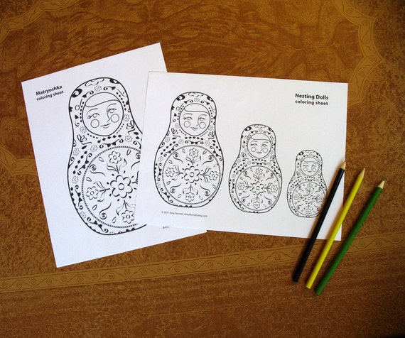 Matryoshka Russian Nesting Doll Coloring Sheets Printable file, Babushka Dolls, Stacking Dolls