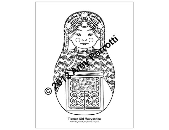 Tibetan Girl Matryoshka Coloring Sheet Printable file