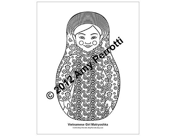 Vietnamese Girl Matryoshka Coloring sheet PDF