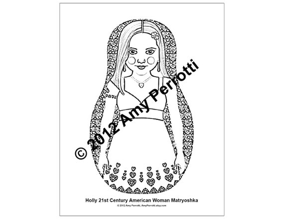 Holly 21st Century American Woman Matryoshka Coloring Sheet file