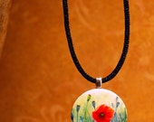 Tiny Bits of Nature - Poppies - Necklace - Small Round