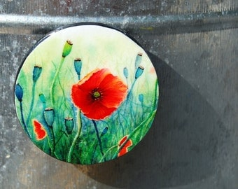 Tiny Bits of Nature - Poppies - Magnet - Large Round
