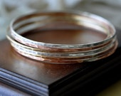 Handmade Hammered Tri Metal Bangles - set of 6