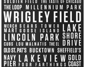Chicago Digital Print // 16x20 Beige on Black // Locality