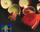 HeartOn Orange Streaked Heart Pendant Chain Necklaces