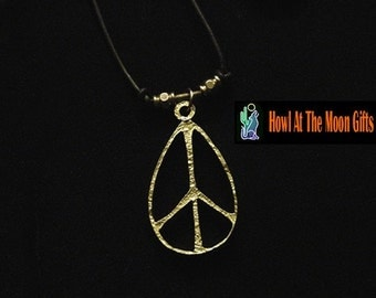 Large Peace Sign Pendant Necklace