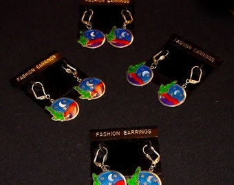 Handcrafted Southwestern Themed Earrings  Cactus Cloisonne