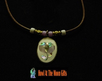 Abalone Shell Flower Cloisonne Necklace