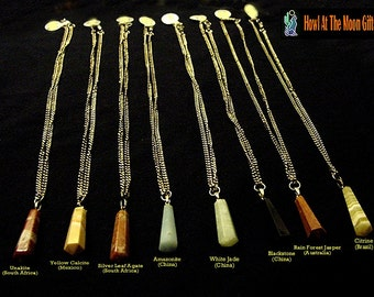 Semi Precious Stone Crystal Pendant Chain Necklaces   CLEARANCE