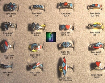 Turquoise Coral Chip Inlay Silver Rings   CLEARANCE