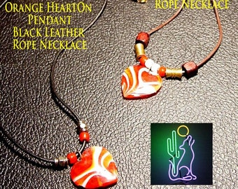 Orange HeartOn Pendant Leather Rope Necklace