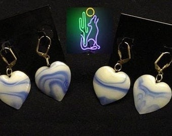 HeartOn Blue Swirl Heart Pendant Pierced Earrings