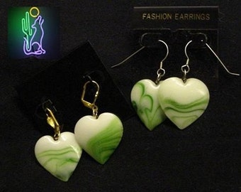 HeartOn Green Swirl Heart Pendant Pierced Earrings
