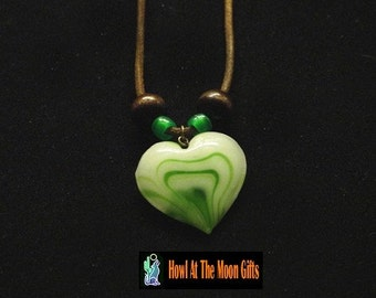 Green HeartOn Pendant Leather Rope Necklace