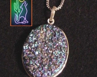 Colbalt Titanium Druzy Sterling Silver Cabochen Pendant on 20 Inch 1.5 MM Sterling Silver Box Chain