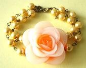 Bridesmaid Jewelry Yellow Bracelet Orange Jewelry Flower Bracelet Yellow Jewelry