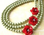 Flower Necklace Statement Necklace Rose Jewelry Olive Green Necklace Statement Jewelry Triple Strand Bridesmaid Gift Beadwork
