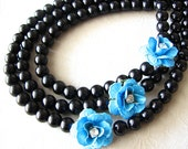 Statement Necklace Black Jewelry Bib Necklace Flower Necklace Turquoise Jewelry Bridesmaid Jewelry Multi Strand