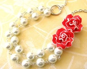 Beaded Necklace Bridesmaid Gift Flower Necklace Rose Necklace Red Jewelry Multi Strand Holiday Gift