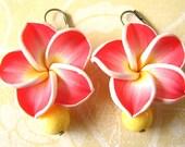 Red Flower Earrings, Yellow Jewelry, Red Earrings, Bridesmaid Jewelry, Coral Earrings Dangle Earrings