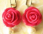 Bridesmaid Jewelry Flower Earrings Rose Jewelry Dangle Earrings Red Earrings Drop Earrings