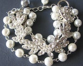 Vintage Style Bridal Jewelry Bridal Wedding Bracelet Bridal Wedding Jewelry Pearl and Crystal Bracelet Silver Jewelry