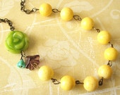 Yellow Necklace Bridesmaid Jewelry Lime Green Flower Necklace Yellow Jewelry Bridal Party Gift Bridesmaid