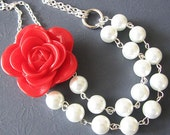 Statement Necklace Flower Necklace Red Necklace Bridesmaid Jewelry Bib Necklace Bridal Jewelry Gift Ideas