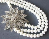 Statement Bridal Necklace Wedding Jewelry Statement Necklace Bridal Jewelry Pearl Necklace Triple Strand Art Deco