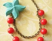 Starfish Necklace Starfish Jewelry Beaded Necklace Beach Jewelry Red Necklace Turquoise Jewelry Gift For Her