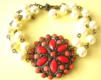 Beaded Bracelet Red Jewelry Red Coral Bracelet Flower Bracelet Pearl Bridesmaid Jewelry Charm Bracelet Gift For Her