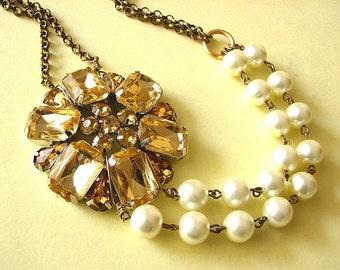 Bridal Jewelry Gold Wedding Necklace Wedding Jewelry Rhinestone Bridal Necklace Bridesmaid Jewelry Set