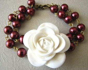 Burgundy Jewelry Flower Bracelet Bridesmaid Jewelry Set Wedding White Bracelet Charm Bracelet